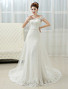 Sheath / Column Off-the-shoulder Court Train Lace Wedding Dress with Beading Pearl by