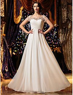 billiga A-linjeformade brudklänningar-A-linje Scoop Neck Golvlång Chiffong Bröllopsklänningar tillverkade med Bård / Korsvis av LAN TING BRIDE® / Genomskinliga