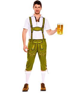 billige Halloweenkostymer-Stuepike Kostumer Oktoberfest bayerske Cosplay Kostumer Party-kostyme Herre Halloween Oktoberfest Festival / høytid Halloween-kostymer Drakter Svart / Brun / Grønn Lapper