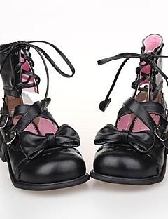 billiga Lolitamode-Skor Söt Lolita Snörning Platå Skor Rosett 2.5 CM Svart Till PU-läder/Polyuretan Läder