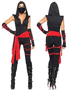tanie Kostiumy filmowe i telewizyjne-Ninja Garnitury Zentai Kostiumy z filmów Black Bandaż Top Spodnie Pas Maska Halloween Nowy Rok Spandex Bawełna