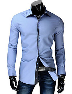 Men's Casual/Daily Simple Spring Fall Shirt,Solid Shirt Collar Long Sleeves Cotton