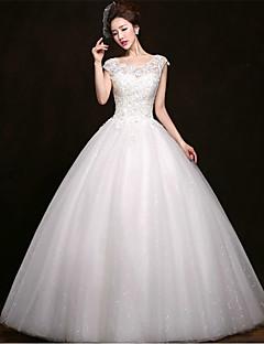 billiga A-linjeformade brudklänningar-Balklänning Scoop Neck Golvlång Tyll Bröllopsklänningar tillverkade med Bård / Applikationsbroderi av / Glittra och gläns