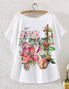 Daily Casual Summer T-shirt,Print Round Neck Short Sleeves Cotton Polyester Medium