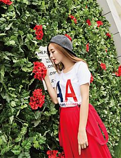 billige Lagersalg-T-skjorte Dame-Bokstaver,Trykt mønster Gatemote