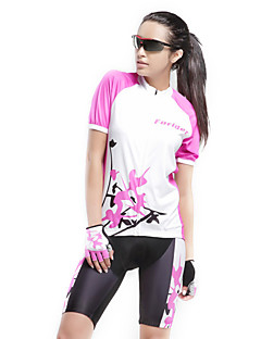 cheap Cycling Jersey & Shorts / Pants Sets-Forider Women's Short Sleeves Cycling Jersey with Shorts - White Bike Clothing Suits, Quick Dry, Ultraviolet Resistant, Breathable,