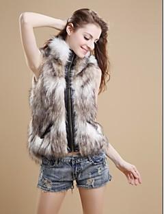 cheap Women's Furs & Leathers-Women's Vintage Faux Fur Vest-Simple,Zipper