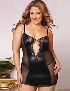 billige Nattøy til damer-Dame Store størrelser Sexy Babydukke Og Tøfler Nattøy - Ensfarget, Blonde Netting