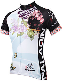 ILPALADINO Women s Short Sleeve Cycling Jersey - Blue Floral   Botanical  Plus Size Bike Jersey Top Breathable Quick Dry Ultraviolet Resistant Sports  ... 2a96cfd5d