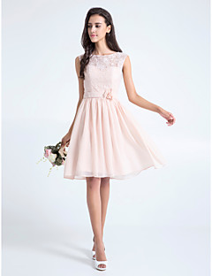 A-Line Scoop Neck Knee Length Lace Bridesmaid Dress with Flower(s) Lace by LAN TING BRIDE®