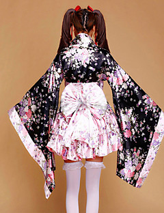 Outfits Maid Suits Wa Lolita Princess Cosplay Lolita Dress Pink Floral Patchwork Poet Long Sleeves Kimono Coat Skirt Bow Earring For Silk