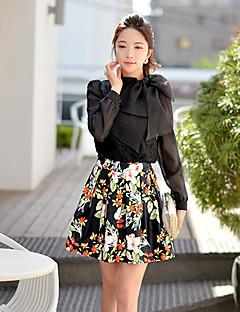 Mulheres Camisa Casual Simples / Moda de Rua Outono,Sólido Branco / Preto Poliéster / Elastano Colarinho Chinês / Laço Manga Longa Fina