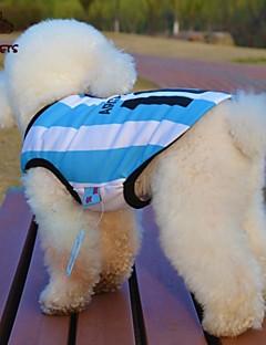 billiga Hundkläder-Katt Hund T-shirt Tröja Hundkläder Rand Bokstav & Nummer Blå Terylen Kostym För husdjur Cosplay Bröllop