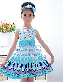 Girl's Going out Print Dress Summer Sleeveless Bow Yellow Pink Light Blue
