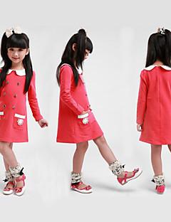 tanie Odzież dla dziewczynek-Sukienka Bawełna Poliester Dziewczyny Jendolity kolor Zima Wiosna Jesień Długi rękaw Dark Blue Fuksja