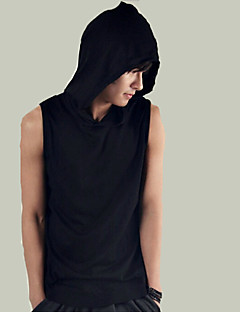 Men's Solid Casual Sport Style Hooded Tank Tops,Cotton Sleeveless-Black / White Summer Men's Fashion Comfortable Clothing