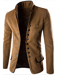 Herren Solide Lässig/Alltäglich Arbeit Blazer Lange Ärmel Standard Wolle Baumwolle Polyester Andere