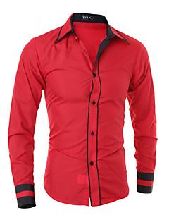 billige Herremote og klær-Bomull Tynn Klassisk krage Store størrelser Skjorte Herre - Fargeblokk Forretning Svart & Rød