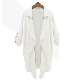 cheap -Women's Daily Weekend Simple Casual Spring Fall Long Jacket, Solid Notch Lapel Linen