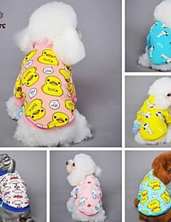 baratos -Gato Cachorro Camiseta Pijamas Roupas para Cães Fofo Casual Desenhos Animados Amarelo Azul Rosa claro Azul/Amarelo Rosa Claro Ocasiões