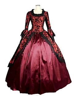שמלותחתיכה אחת לוליטה גותי Steampunk® Cosplay שמלות לוליטה פוקסיה וינטאג' משורר (מתרחב בסוף) שרוול ארוך שמלה ל תחרה
