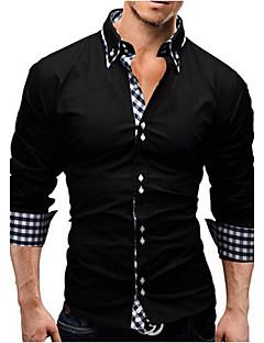 billige Herremote og klær-Bomull Tynn Skjorte Herre - Ensfarget Ruter