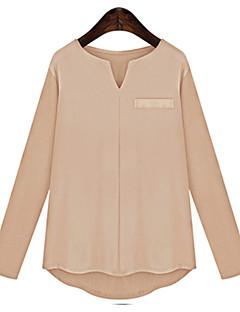 Damen Solide Einfach Lässig/Alltäglich Übergröße Bluse,V-Ausschnitt Herbst Langarm Baumwolle Mittel