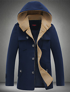 Men's Stand Coats & Jackets , Tweed Long Sleeve Casual Fashion Winter / Fall GuMen
