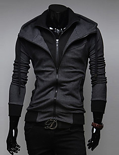 baratos Abrigos e Moletons Masculinos-Homens Delgado Esportes Activo Manga Longa Jacket Hoodie Sólido Com Capuz