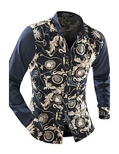 Men's Casual/Daily Vintage Spring Fall Shirt,Floral Shirt Collar Long Sleeve Polyester Medium
