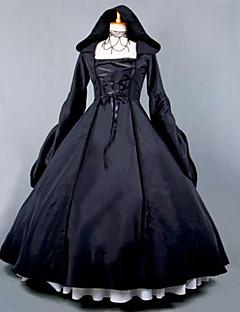 billiga Lolitamode-Gotisk Lolita Steampunk® Dam Klänningar Cosplay Svart Balklänning Poet Långärmad Lång längd Plusstorlekar Anpassad Kostymer