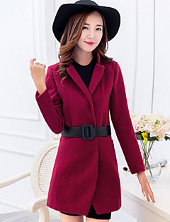 Women's Trench Coat,Solid Stand Long Sleeve Winter Red Thick