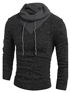 Men's Casual/Daily Long Pullover,Animal Print Round Neck Long Sleeve Cotton Fall Winter Medium Micro-elastic