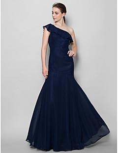 tanie Królewski błękit-Obcisła i rozszerzona Na jedno ramię Sięgająca podłoża Szyfon Sukienka dla druhny z Plisy przez LAN TING BRIDE®