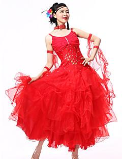hesapli -Balo Dansı Kıyafetler Kadın's Performans Splandeks Krepe Payet Kristaller / Yapay Elmaslar Kırma Dantel Kolsuz Elbise Bileklikler Neckwear