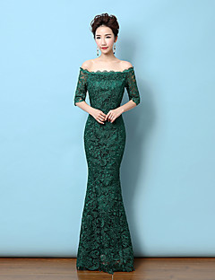 Mermaid / Trumpet Off-the-shoulder Floor Length Lace Formal Evening Dress with Lace by Yaying