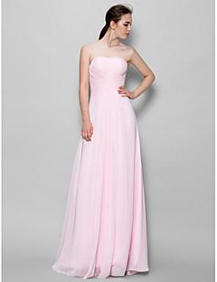 billige Romantisk rosa-A-linje Stroppeløs Gulvlang Chiffon Brudepikekjole med Kryssdrapering av LAN TING BRIDE®