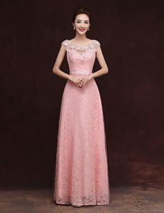 tanie Romantyczny róż-Ołówkowa / Kolumnowa Wycięcie Sięgająca podłoża Tiul Sukienka dla druhny z Haft nakładany przez Embroidered Bridal