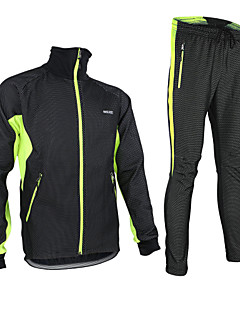 cheap Cycling Clothing-Arsuxeo Men's Long Sleeves Cycling Jacket with Pants - Black/Red Black/Green Black/Blue Bike Jacket Clothing Suits, Thermal / Warm,