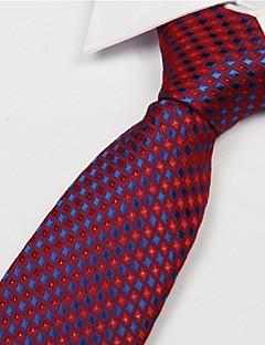 Red Dark Blue Diamond Pattern Men Polyester Yarn Tie Necktie