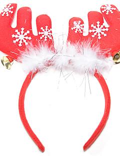 billige julen Kostymer-Julefest Tilbehør Hodebånd med reinsdyrgevir Jingle Bell tekstil Fjær Bomull Leketøy Gave 1 pcs