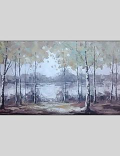baratos Paisagens Abstratas-Pintura a Óleo Pintados à mão - Paisagem Contemprâneo Tela de pintura / Lona esticada