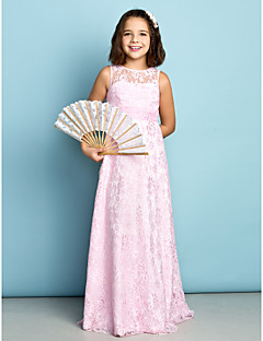 Sheath / Column Jewel Neck Floor Length Lace Junior Bridesmaid Dress with Lace by LAN TING BRIDE®