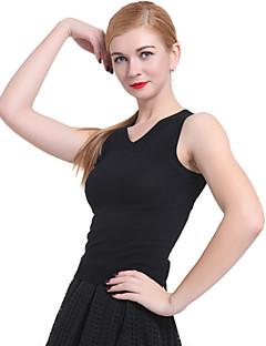 baratos Suéteres de Mulher-Mulheres Sem Manga Algodão Colete - Sólido Algodão