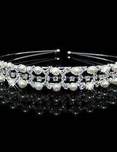 Lucky Doll Women's Elegant 925 Silver Plated Imitation Pearl Cubic Zirconia Headband