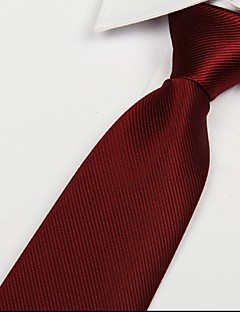 Wine Red Men Twill Tie Jacquard Arrow Polyester Silk Necktie