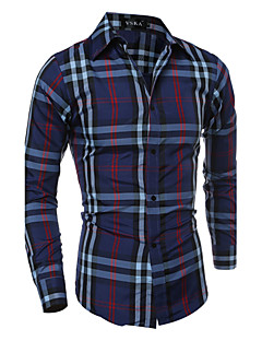 Men's Casual Slim Long Sleeved Plaid Shirt , Cotton / Polyester Casual Plaids & Checks