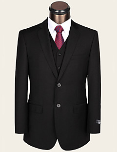 Black Solid Standard Fit Wool Viscose Suit - Notch Single Breasted Two-buttons
