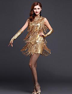 Werden wir Latin Tanz Kleider Frauen Kleid mit / Handschuhe / Halsbekleidung