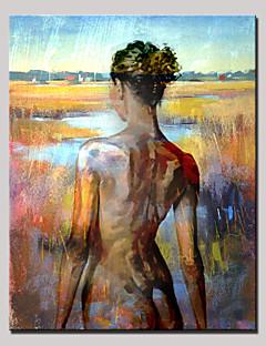 tanie Portrety abstrakcyjne-Ręcznie malowane Portret abstrakcyjny Pionowy, Nowoczesny Brezentowy Hang-Malowane obraz olejny Dekoracja domowa Jeden panel